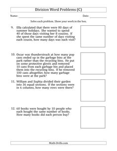 The Division Word Problems with Division Facts from 5 to 12 (C) Math Worksheet from the Math Word Problems Worksheets Page at Math-Drills.com.