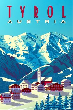 ~ Alver Art Vintage Ski Posters, Cool Posters, Sports Posters, Travel Illustration, Winter Landscape, Travel Images, Europe, Wall Art Prints, 1