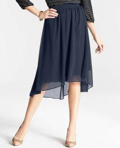 Chiffon High Low Hem Skirt | Ann Taylor
