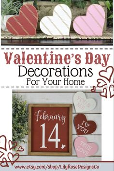 LilyRoseDesignsCo covers all of your Valentine's Day Decor needs! Wood Hearts & Signs... Visit our Etsy Shop today. #lilyrosedesignsco #valentinesdaydecor #valentineheart