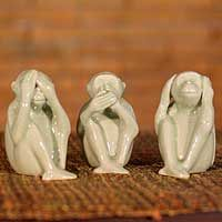 Buy Celadon ceramic statuettes, 'No Evil' (set of today. Shop unique, award-winning Artisan treasures by NOVICA, the Impact Marketplace. Each original piece goes through a certification process to guarantee best value and premium quality. Mystery Room, Three Wise Monkeys, Clay Plates, China Mugs, Global Art, China Porcelain, Sculpting, Royal Doulton, Art Gallery