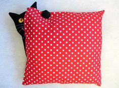 Check out our chair pads & covers selection for the very best in unique or custom, handmade pieces from our shops. Fabric Dolls, Fabric Art, Fabric Crafts, Sewing Crafts, Sewing Projects, Cat Cushion, Hand Work Embroidery, Cat Quilt, Cat Pillow