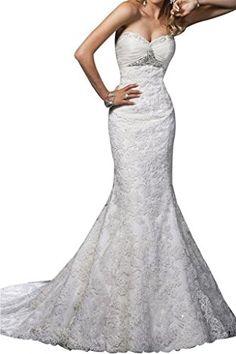 Gorgeous Bridal Empire Sweetheart Long Wedding Dresses Mermaid with Lace US Size 14 -- BEST VALUE BUY on Amazon  #SatinDresses