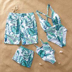 Yaffi Family Matching Swimwear One Piece Monokini Bathing Suit Deep V Neck Leaf Printed Backless Beach Wear Green Cute Swimsuits, Women Swimsuits, Kids Outfits, Summer Outfits, Cute Outfits, Best Friend Outfits, Matching Couple Outfits, Mother Daughter Outfits, Beachwear Fashion