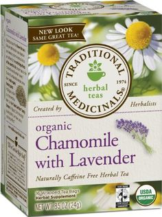 Traditional Medicinals Organic Chamomile  with Lavender - 16 Count Boxes (Pack of 6): This herbal blend of beautiful and fragrant flowers with soothing lemon balm will stand by you when you're troubled by nervous tension or upset stomach or simply when you need to step out of the stream of life for a moment and take a well-deserved break.