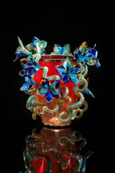 Dale Chihuly - Scarlet Venetian with Aquamarine Flowers 2014 Glass 21 x 19 x 21 inches - Arthur Roger Gallery