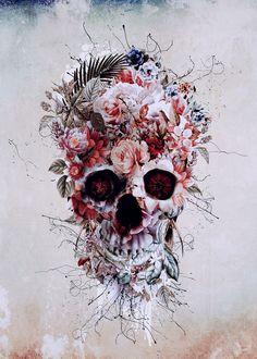 Floral Skull RPE #skull #wallart #digitalart #collage