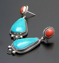 Geneva Apachito (Navajo) - Turquoise & Coral Sterling Silver Post Dangle Earrings #39546 $195.00 Turquoise Rings, Turquoise Jewelry, Silver Jewelry, Jewlery, American Indian Jewelry, Southwest Jewelry, Western Jewelry, Schmuck Design, Modern Jewelry