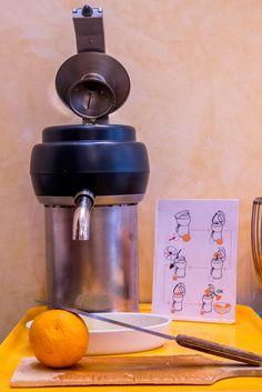 Petit déjeuner : nous vous donnons la possibilité de presser vous-même votre jus d'orange.