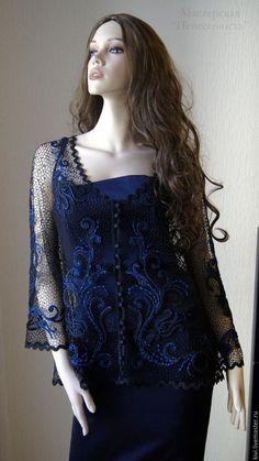 "Sweatshirts and sweaters handmade.  Fair Masters - handmade.  Buy ""Violin Melody"".  Handmade.  Dark blue, natural silk"