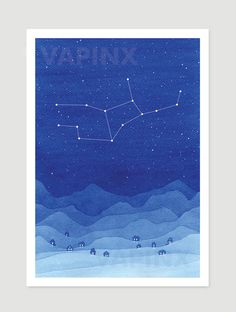 Watercolor painting Virgo constellation blue mountains giclee print village wall…