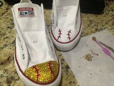Baseball or Softball Swaroski Blinged Converse by TeamMomBling?