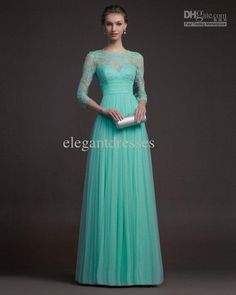 Discount 2014 Elegant Lace with 3/4 Sleeve Modest Evening Dresses Prom Dresses with Full Length Aire03 Online with $96.76/Piece | DHgate