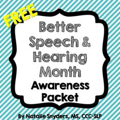 SLPs, this FREE 10 page packet will help you promote awareness of Better Speech and Hearing Month with the rest of your school staff!