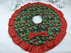 Christmas Dollhouse Holly Berry Tree Skirt by TheLittleEmptyNest