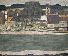 Egon Schiele (Austrian, 1890-1918), Houses on the River (The Old Town), 1914. Oil on canvas, 100 x 120.5 cm.