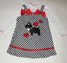 Puppy Plaid Dress Toddler with White Tee by LittleGirlsShop, $32.00