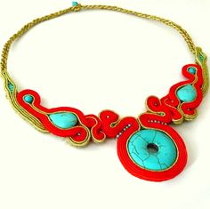turquoise, red, gold