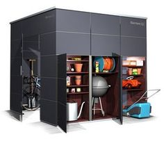 Weatherproof garden shed with extra storage space for equipment storage! Then you have to ma . - Weatherproof garden shed with extra storage space for equipment storage! Then you finally do not ha - Garden Shed Diy, Backyard Sheds, Outdoor Sheds, Home And Garden, Bike Storage, Outdoor Storage, Locker Storage, Extra Storage Space, Storage Spaces