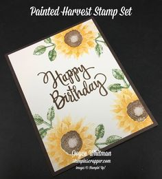 Sneak Peek of the Painted Harvest stamp set in the new Stampin' Up! 2017 Holiday catalog. You can use this stamp set for so many projects, birthday, get well, thank you, fall, sympathy, anniversary, congratulations, etc. This will also be great for fall decorating projects.