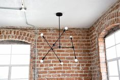 Free Shipping! Large Modern Matte Black 6 Arm Chandelier Atom Atomic Sputnik Abstract Industrial UL Listed