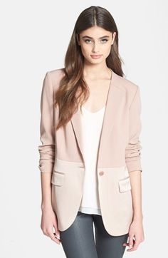 Blush colored blazer...on my lust list. Like this one!  Chelsea28 'Matte & Shine' Mixed Media Blazer available at #Nordstrom