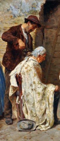 Pio Joris (Italian, 1843-1921), 'I barbieri di Roma', Detail 1