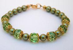 Handmade Swarovski Crystal and Pearl Bracelet by FlyBellaDesigns, $20.00