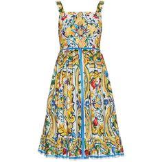 Dolce & Gabbana Majolica-print cotton dress ($2,395) via Polyvore featuring dresses, white multi, dolce gabbana dress, ruffle hem dress, white button dress, patterned skater skirt and pattern dress