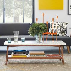 Reeve Mid-Century Rectangular Coffee Table #westelm