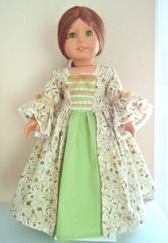 """AG Felicity's """"Golden Forest"""" Colonial Gown, for Felicity and Elizabeth. Not shown is the lovely lace-grimed straw hat. Floral Print Fabric, Floral Lace, Floral Prints, American Girl Doll Costumes, Australian Clothing, Thing 1, Wellie Wishers, Ag Doll Clothes, Historical Clothing"""
