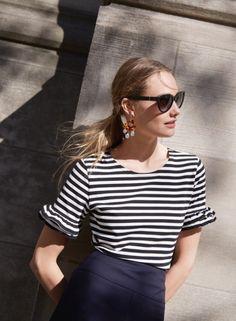 J. Crew Ruffle Sleeve T-Shirt in Stripe, Director Pencil Skirt in Super 120s Wool, Contrast Glitter Heels in Suede, Ryan Sunglasses and Tortoise…