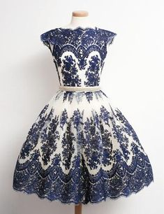 Dark blue lace cap sleeves round neck A-line vintage prom dresses,bridesmaid dress