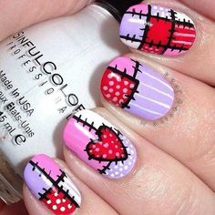 16 Easy Manicure Ideas For Valentine – Simple & Beauty New Home Nail Designs Fancy Nails, Love Nails, Diy Nails, Pretty Nails, Valentine Nail Art, Holiday Nail Art, Nail Art Inspiration, Nailart, Manicure E Pedicure