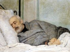 """The Dying Mazzini"" by Italian painter Silvestro Lega. Oil on canvas. Providence, Rhode Island School of Design Museum. Italian Painters, Italian Artist, Portraits, Portrait Art, Guy Drawing, Painting & Drawing, Rhode Island, Design Museum, Art Museum"