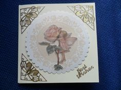 Fairy & Rose, Parchment Card, suitable for lots of occasions, hand made, flowers, birthday,get well, anniversary, thank you,