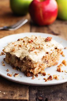 The most tender and moist apple pecan spice cake that you will make.  And the brown sugar cream cheese frosting ...