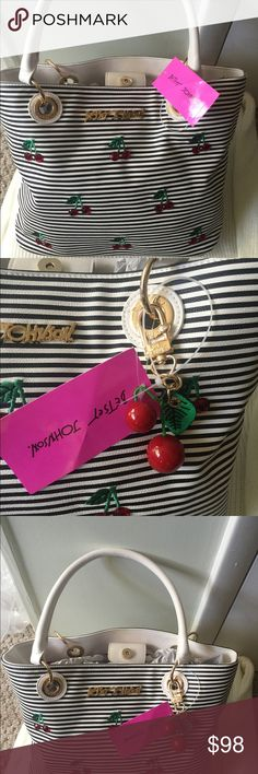 Betsey Johnson Cherry 🍒 Tote Medium Pin-up Girl This adorable Cherry 🍒 tote is by designer Bestey Johnson. It's the perfect Tote for the Ultimate Pin-up Girl. Has adorable cherries 🍒 and stripes, the back just has the stripes. Lots of room for a medium Tote. Betsey Johnson Bags Totes