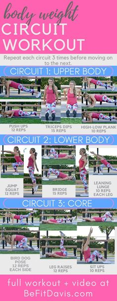 No equipment needed, body weight circuit workout. Click to modifications. This workout was made for anyone to follow- no excuses! Follow along and build strength and endurance. Head to BeFitDavis.com for video!