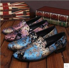(92.65$)  Watch more here  - Hot 2017 Round head comfortable fashion flower leather men arena rock singer DJ club bar ICONS cowhide leather shoes / 37-46
