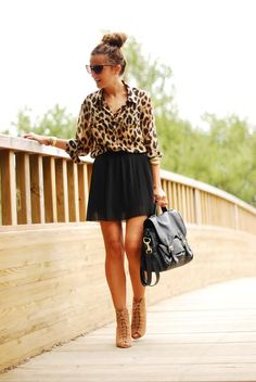 Leopard Blouse & Black Mini Skirt. Bet it would look just as good even if the style idea is the same but flipped!