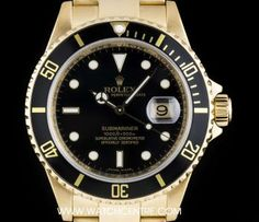 Rolex 18k Yellow Gold Black Dial Submariner Date Gents 16618