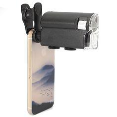 Universal 60X-100X Zoom Óptico Lente Microscopio Lupa Para Cámara iPhone / Samsung / HTC