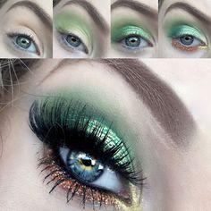 The Eyeball Queen: Saint Patricks Day Pot O' Gold Glittery Green Makeup Tutorial