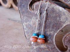 Sleeping Beauty Crackle Orange Turquoise Agate Dangle argent Sterling boucles d'oreilles