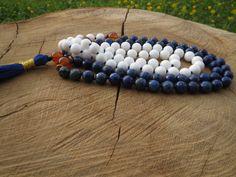 108 Meditation Mala, Lapis Lazuli Jade Mala, Yoga Handknotted Mala , Long Tassel Necklace, Buddhist Mala, Bohemian Hiooie Necklace, Gemstone
