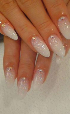 Wedding Nails-A Guide To The Perfect Manicure – NaiLovely Pretty Nail Designs, Nail Art Designs, Sparkle Nail Designs, Fun Nails, Pretty Nails, Prom Nails, Ongles Gel French, Milky Nails, White Glitter Nails