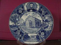 Vintage Souvenir Plate Abraham Lincoln Blue Staffordshire Ware England 1st. Ed.