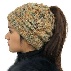 ba42053c804 Female Warm Knitted Hat Striped Colorful Ponytail Headband Woolen Cap