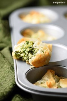 These Spanakopita Muffin Cups are a super easy after-school snack or party appetizer version of the Greek classic, where flaky phyllo shells get filled with flavorful spinach, feta cheese, herbs, and butter!